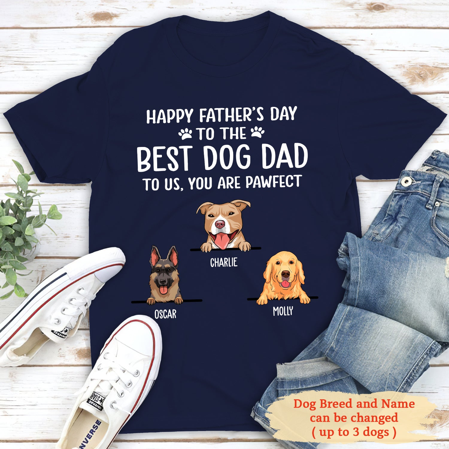 Best Dog Dad - Personalized Custom Unisex T-shirt - Dog Dad Father's Day Gifts