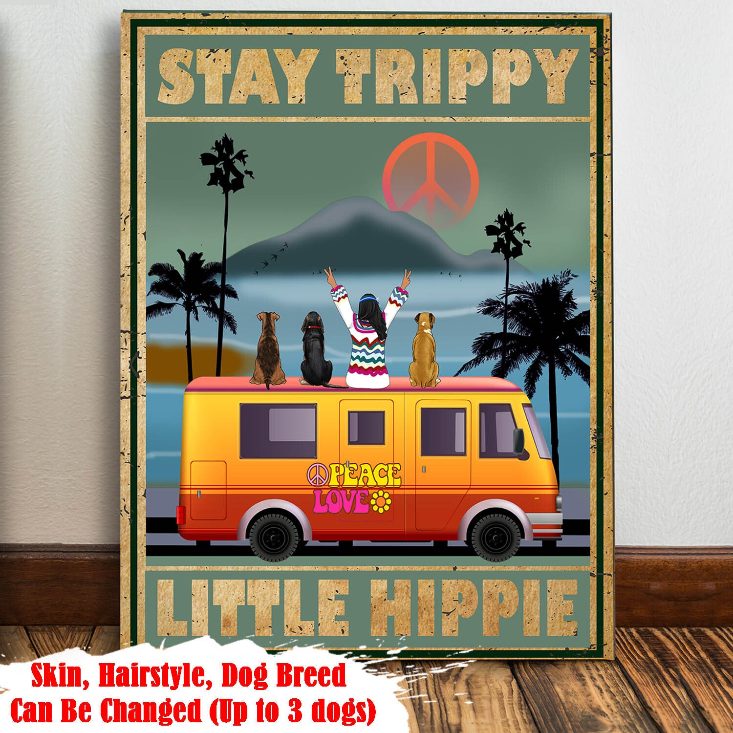 STAY TRIPPY LITTLE HIPPIE - PERSONALIZED CUSTOM CANVAS