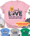 Love Starts With Dog - Personalized Custom Unisex T-shirt