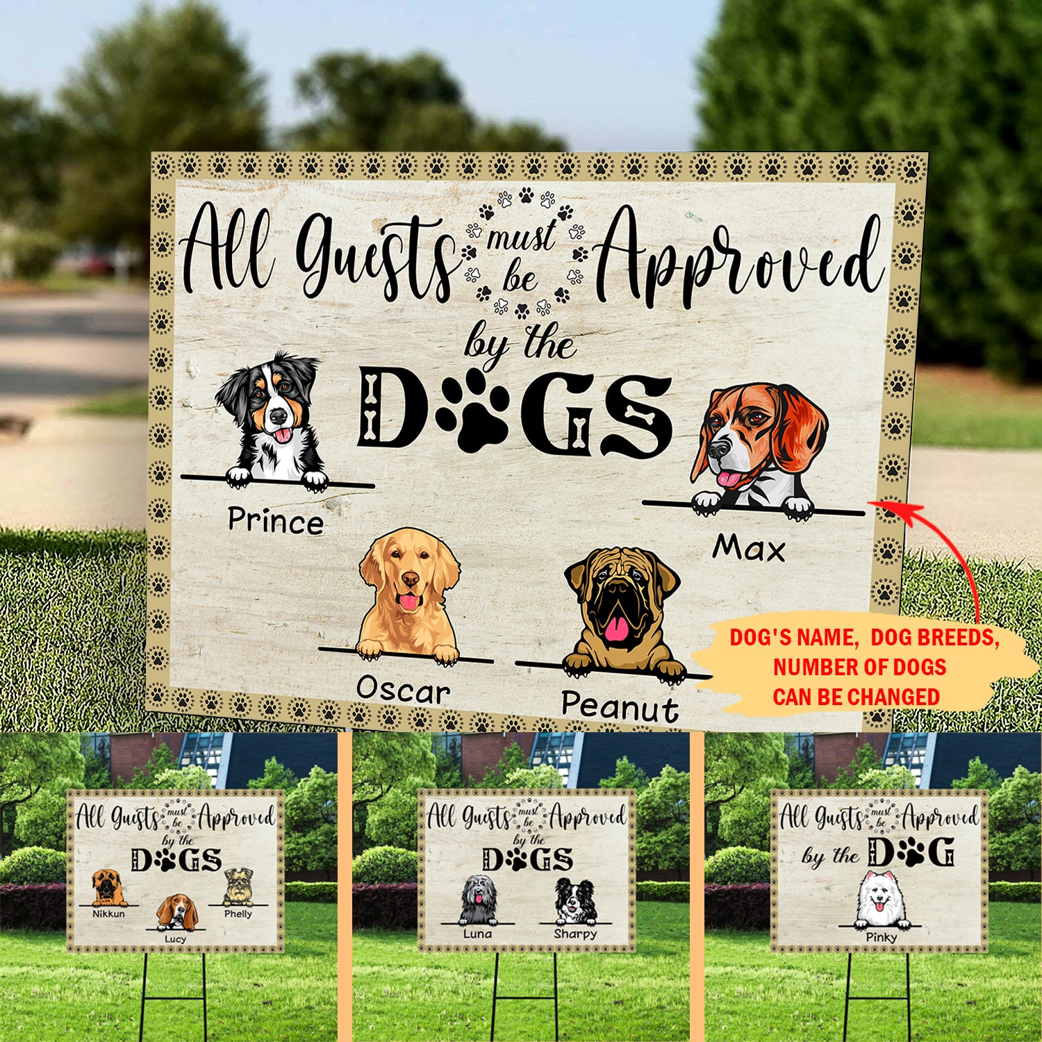 Dog's Approval - Personalized Custom Yard Sign
