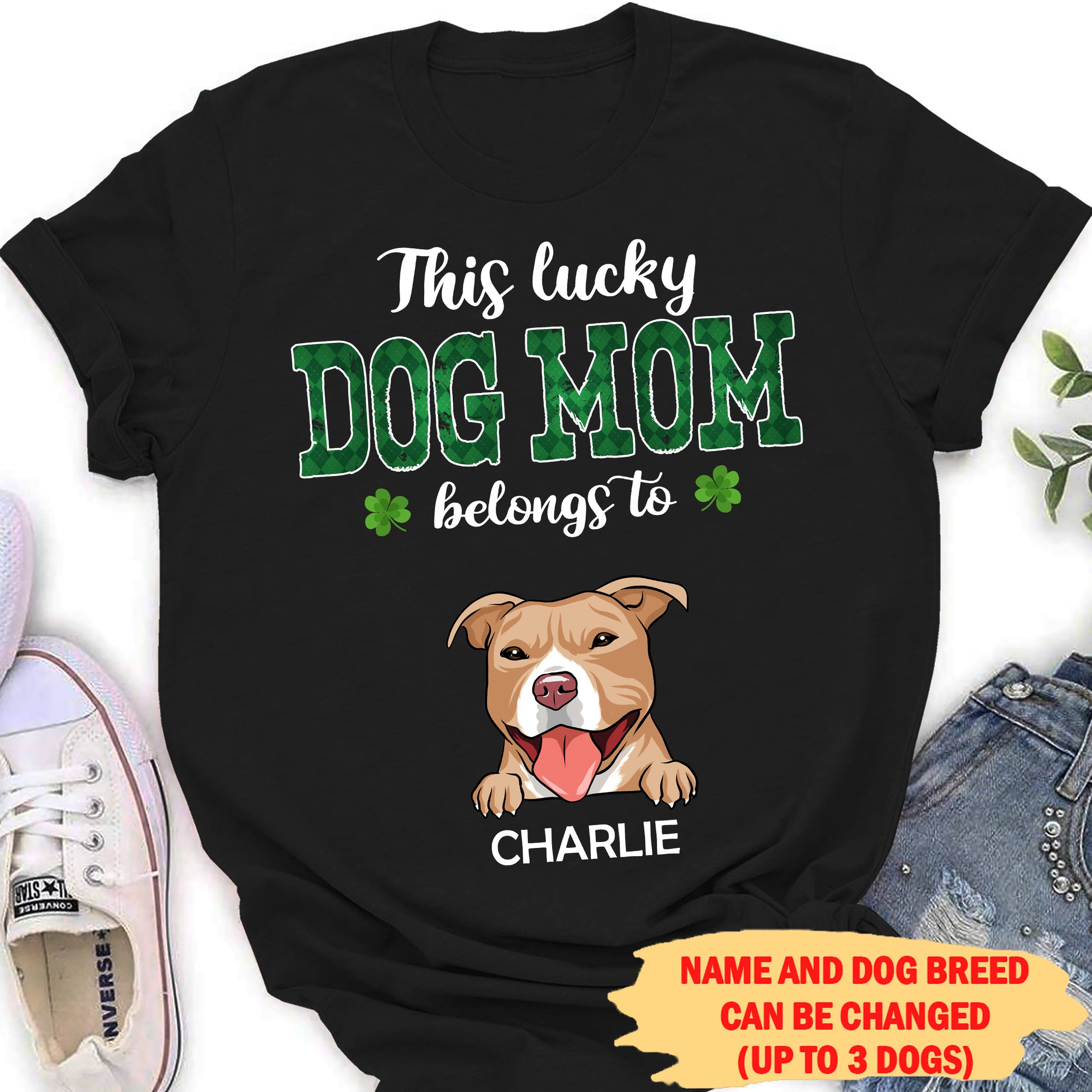 This Lucky Dog Mom Belongs To - Personalized Custom Women T-shirt