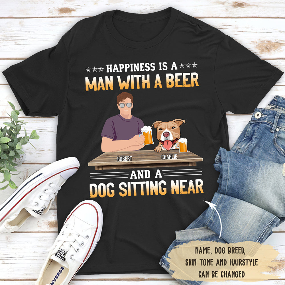 Man With Beer And Dog - Personalized Custom Unisex T-shirt