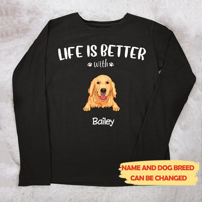 Life is better (White text) - Personalized custom unisex long sleeve