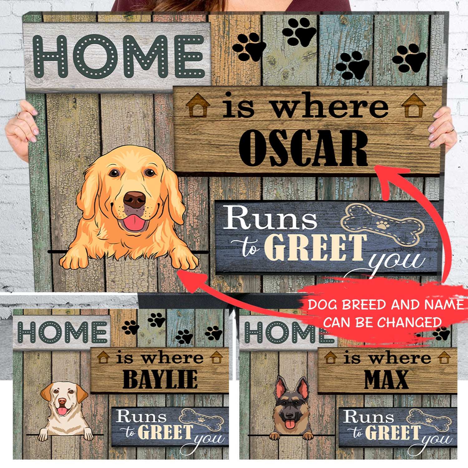 Home is where the dog runs to greet you - Personalized custom canvas