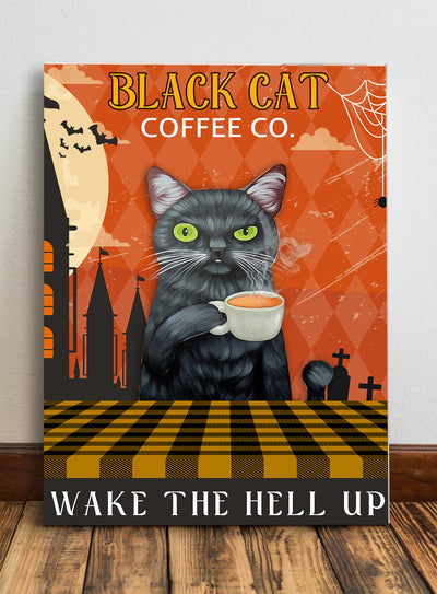 Matte canvas - Black cat coffee co. - Gifts for cat lovers - Halloween gifts - Black cat owner gifts