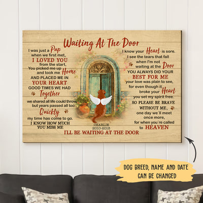 Waiting At The Door - Personalized Custom Canvas - Memorial Dog Gifts