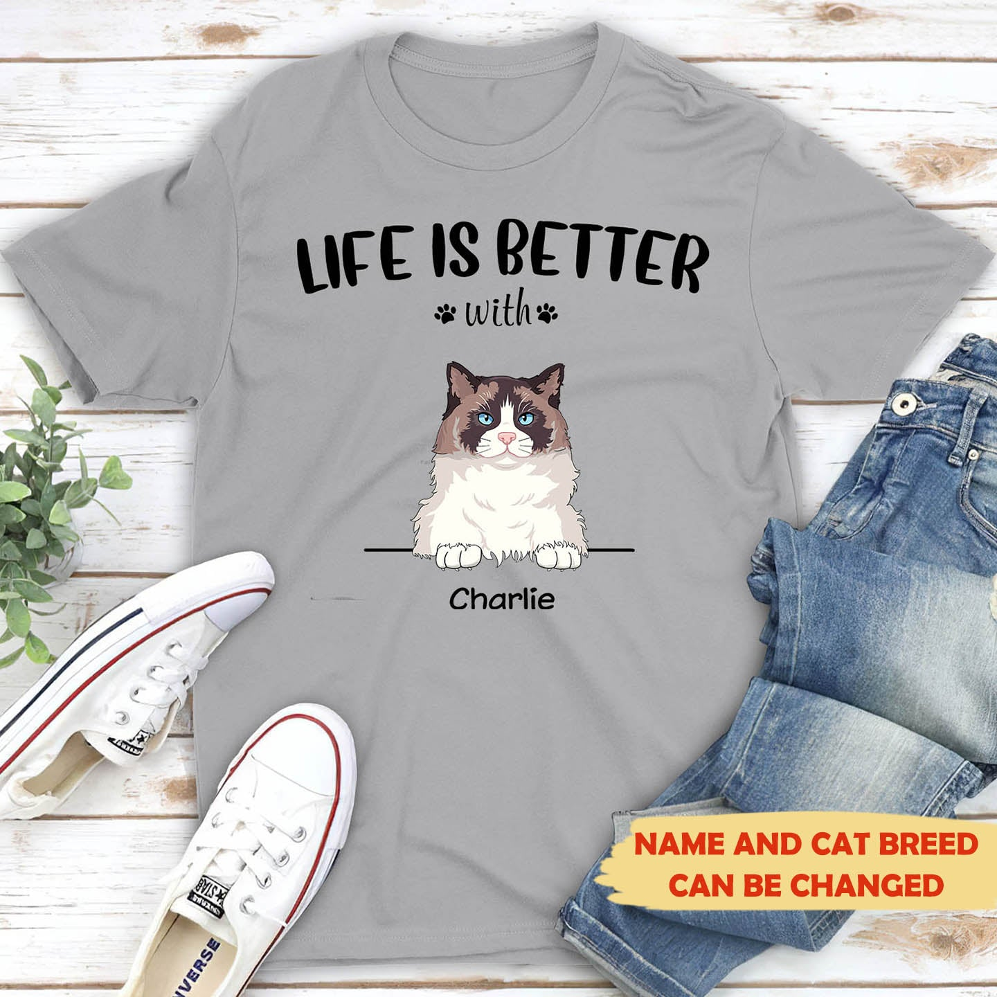 Life is better with cats - Personalized custom premium unisex T-shirt
