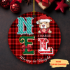 Noel And Dog - Personalized Ceramic Christmas Ornaments
