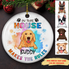 Dog Makes The Rules - Personalized Circle Ceramic Ornaments