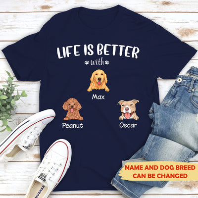 Life is better (White text) - Personalized Custom Unisex T-shirt