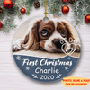 Dog First Christmas - Personalized Photo Ceramic Christmas Ornaments