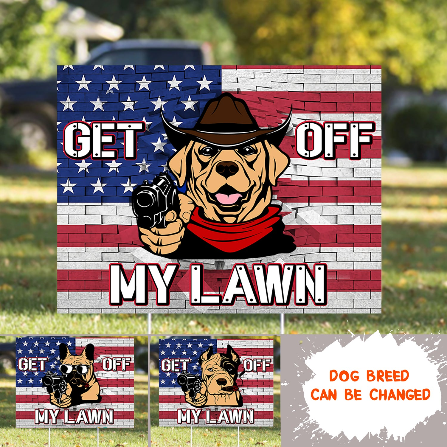 Get Off My Lawn - Personalized Custom Yard Sign