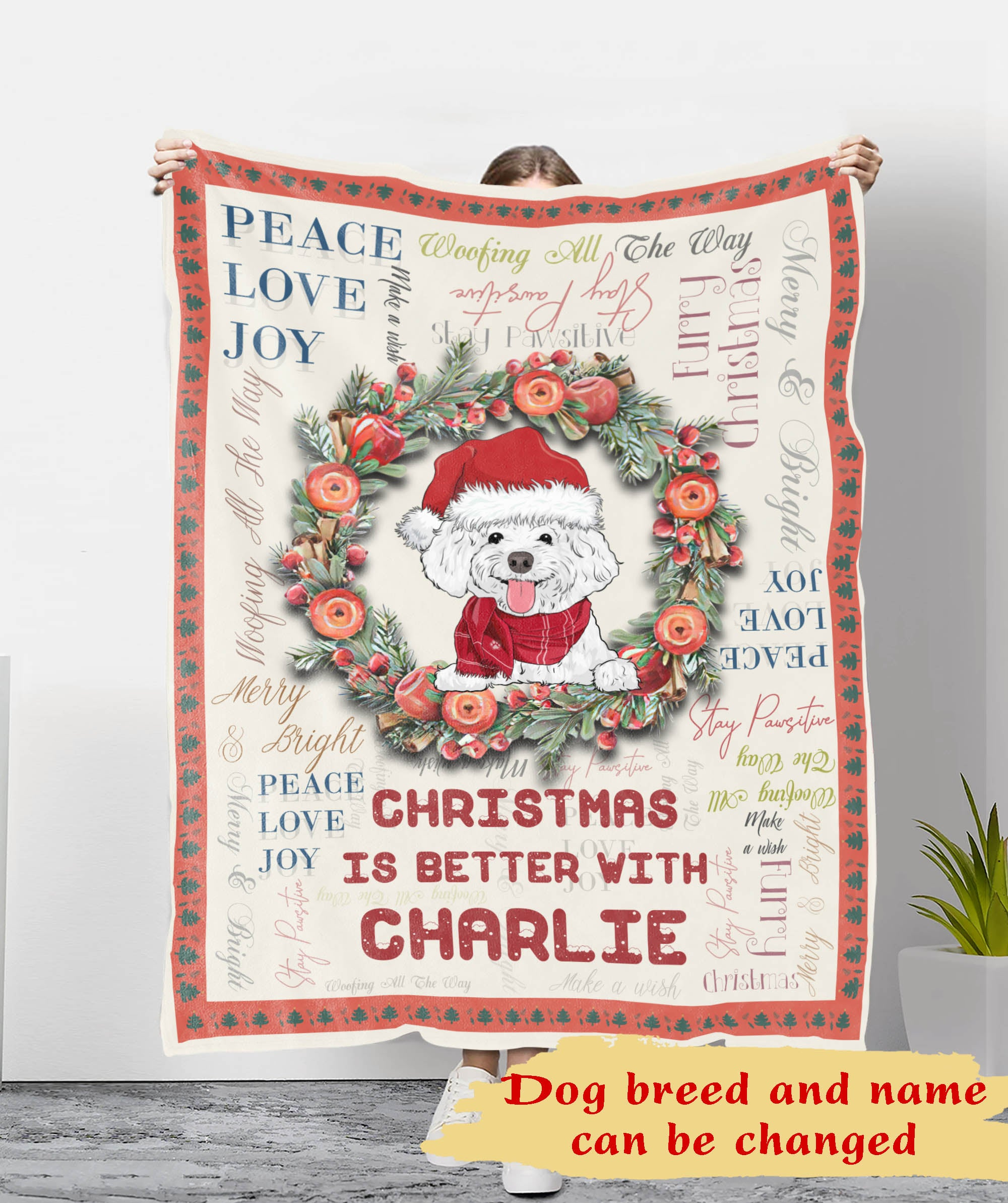 Merry Woofing Christmas - Personalized Custom Fleece Blanket - Christmas Gifts