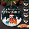 Happy Pawlidays - Personalized Ceramic Christmas Ornaments - Dog Ornaments