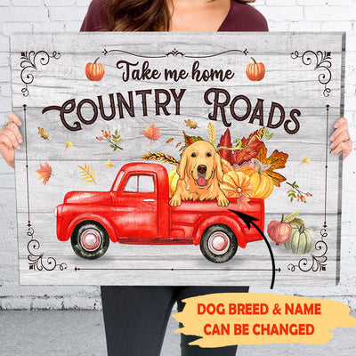 Country roads take me home - Personalized custom canvas