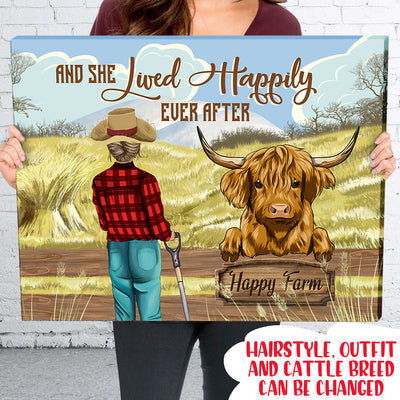 And She Lived Happily Ever After - Personalized Custom Matte Canvas - 2296