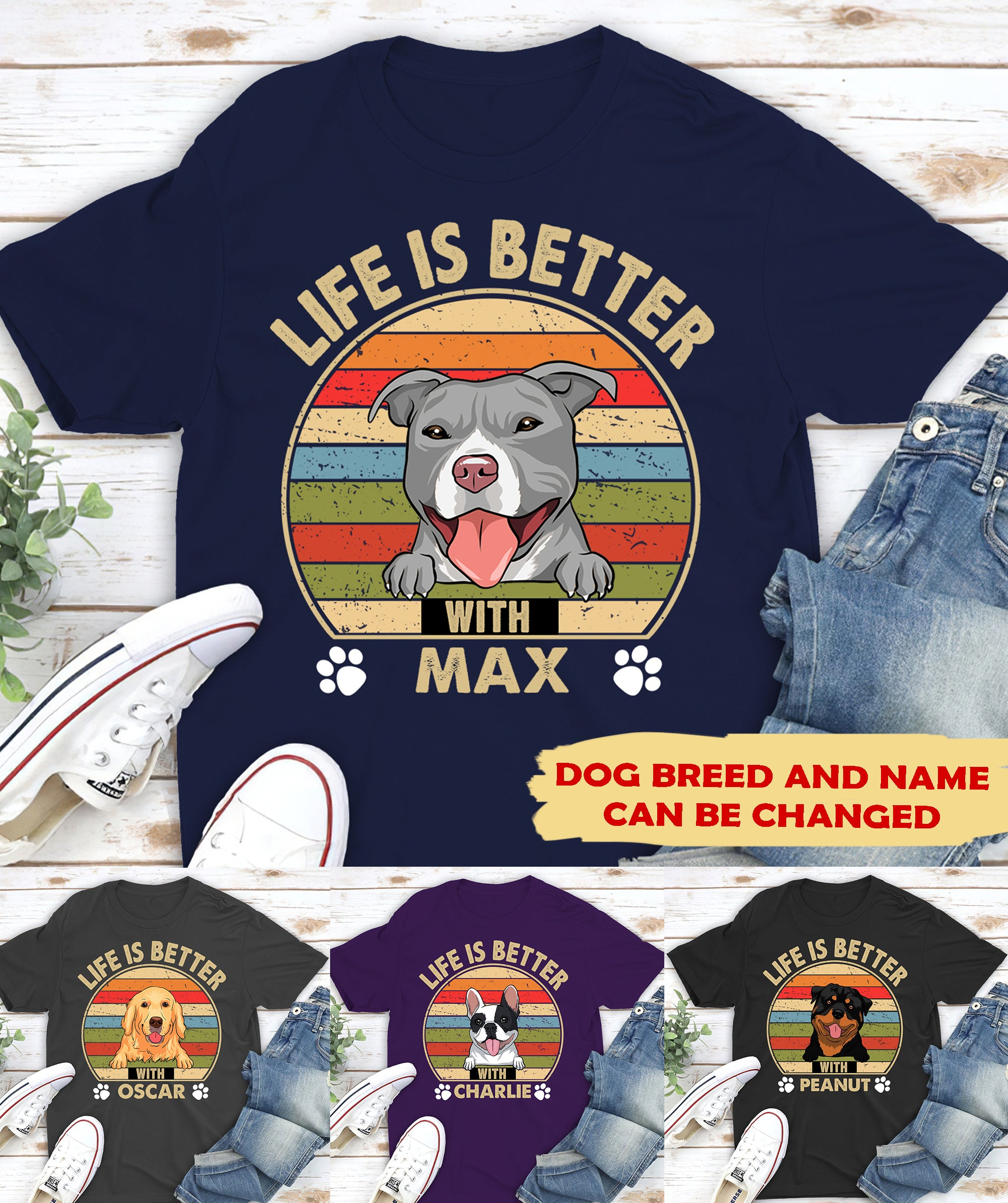 Life is better (Retro style) - Personalized Custom Unisex T-shirt