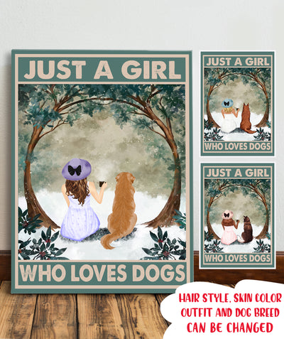 Girl Loves Dogs - Personalized Custom Canvas
