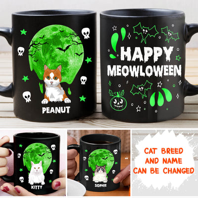 M.E.O.W.L.O.W.E.E.N - Personalized Custom Coffee Mug - Halloween Gifts For Cat Lovers