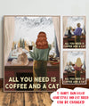 All You Need Is Coffee and A Cat- Personalized Custom Canvas - Christmas Gifts