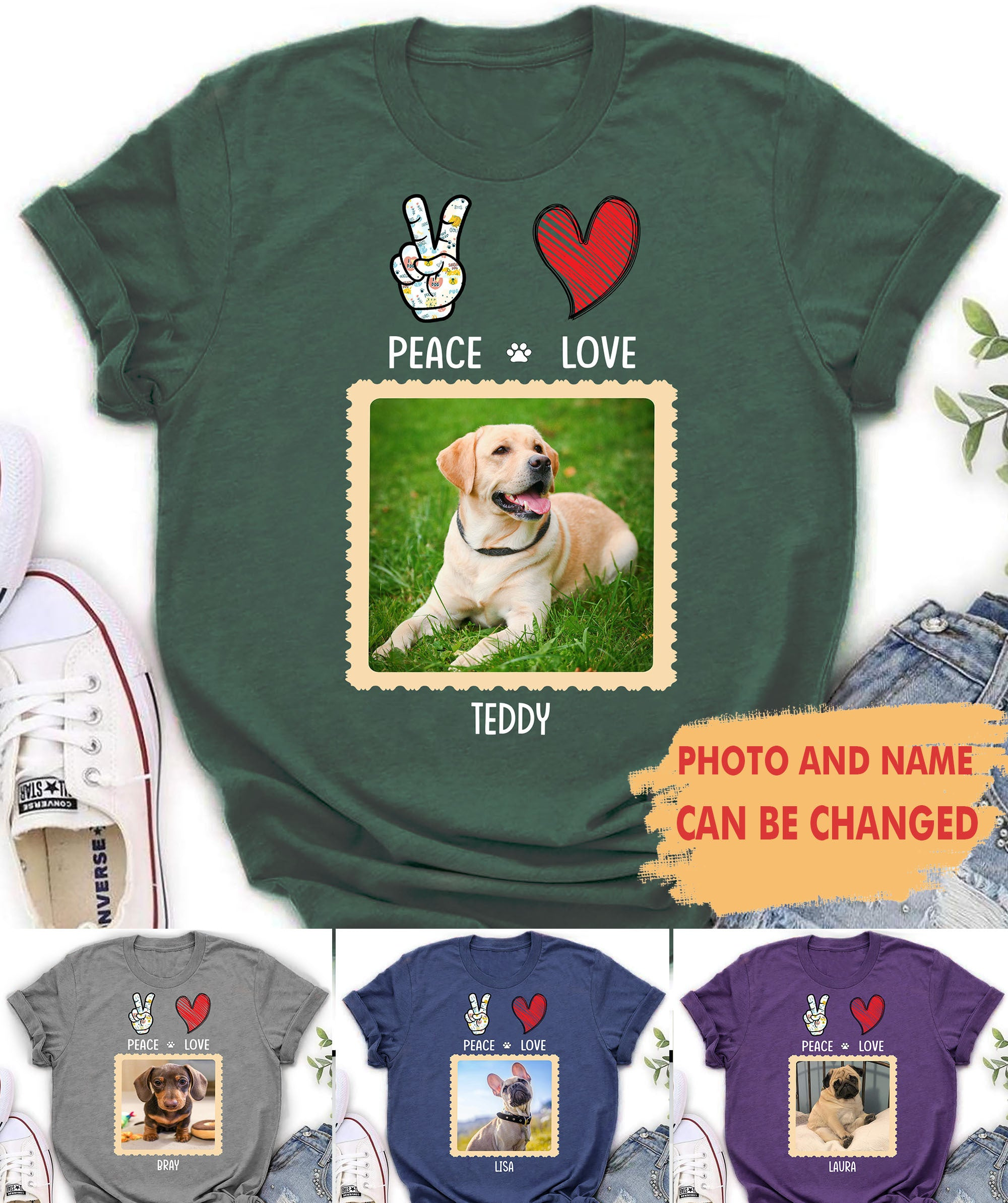 Peace, Love, Dog - Personalized Custom Photo T-shirt