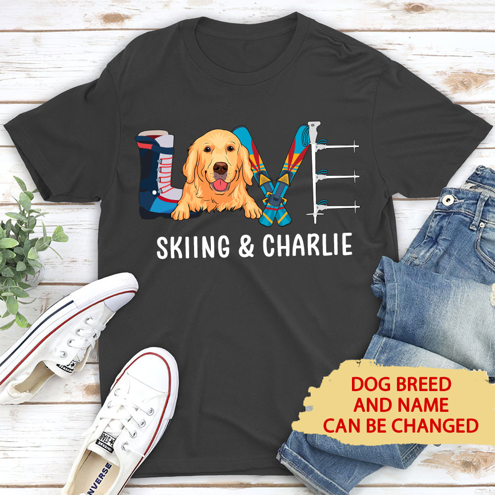 Skiing & Dog - Personalized Custom Unisex T-shirt