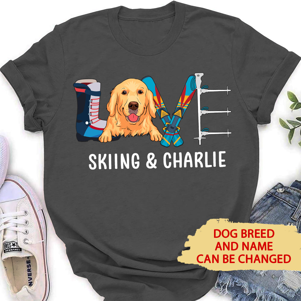Skiing & Dog - Personalized Custom Women's T-shirt