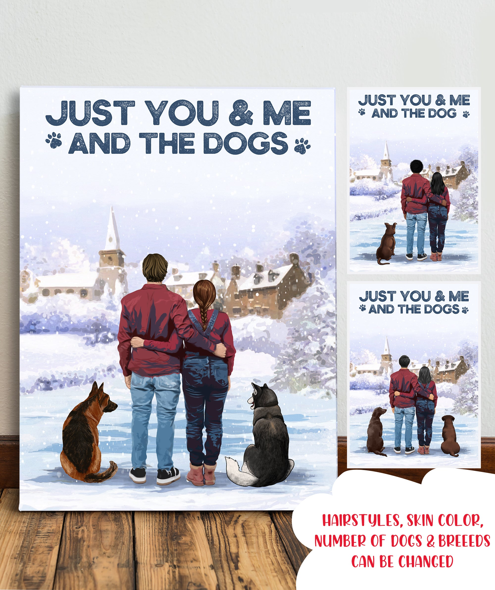 Just You & Me And The Dogs - Personalized Custom Canvas - Couple Gifts For Dog Lovers
