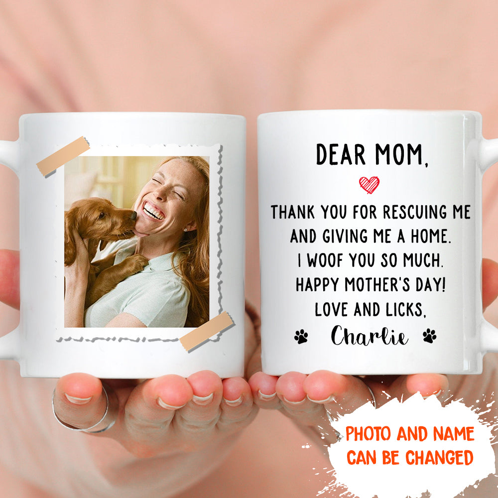 Thank You For Rescuing Me - Personalized Custom Photo Coffee Mug