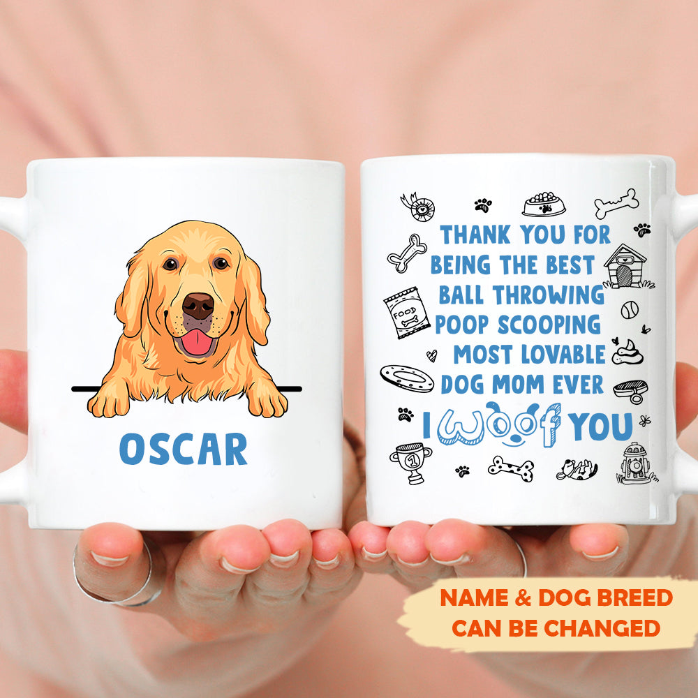 I woof you - Personalized custom coffee mug, Custom Dog Dad/ Dog Mom Mug