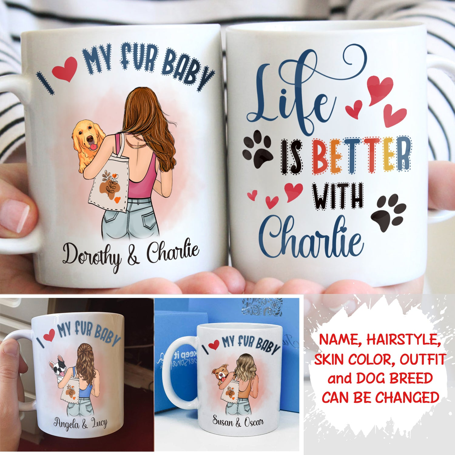 Life is better with dogs - Personalized Custom Coffee Mug