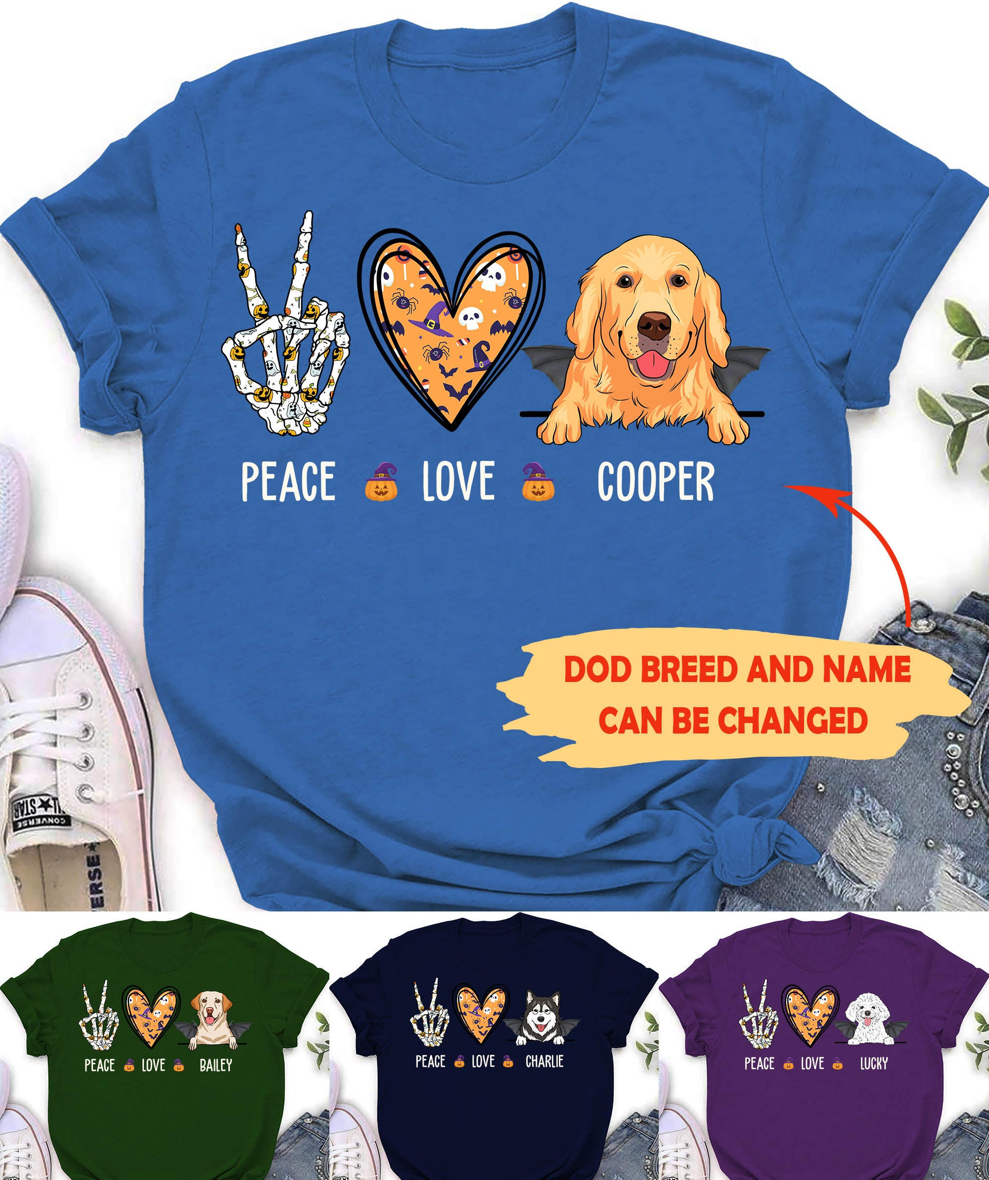 Peace Love Dog Halloween - Personalized Custom T-shirt