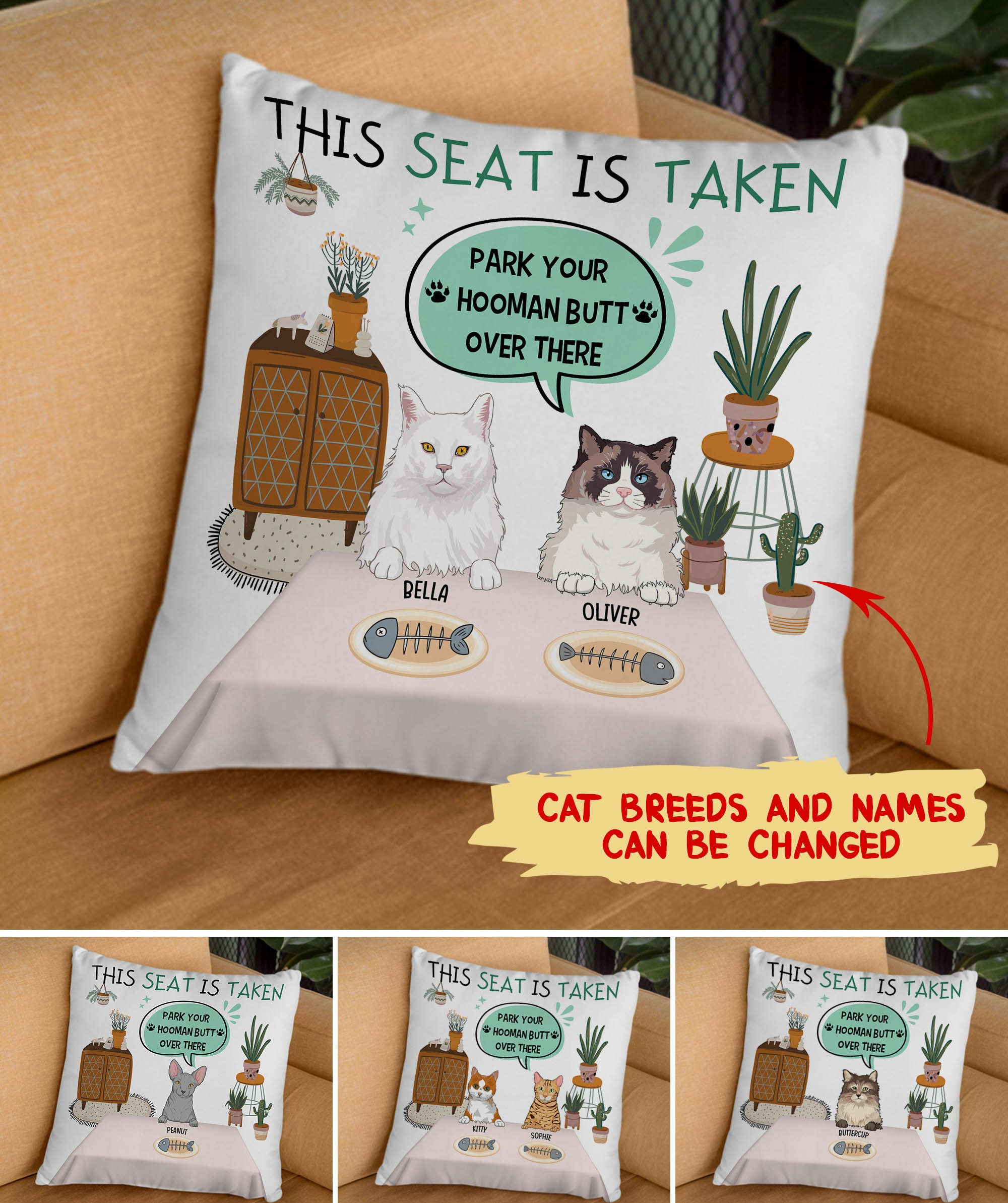 The Seat Is Taken - Personalized Custom Linen Pillow