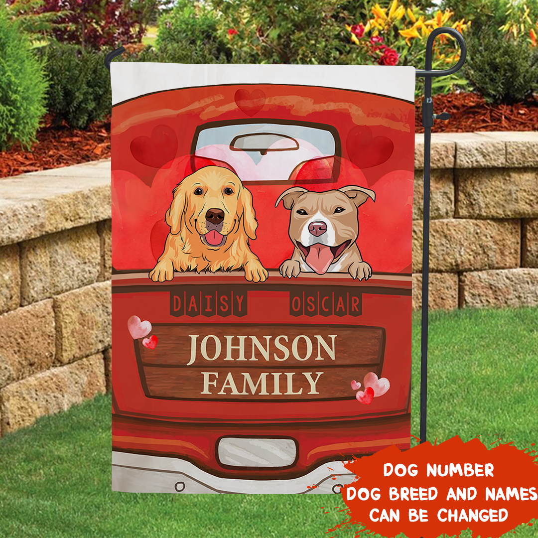 Love Pets Family  – Personalized Custom Garden Flag - Gifts For Dog Lovers