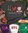 Peace Love Dog Christmas 1 - Personalized Custom Women's T-shirt