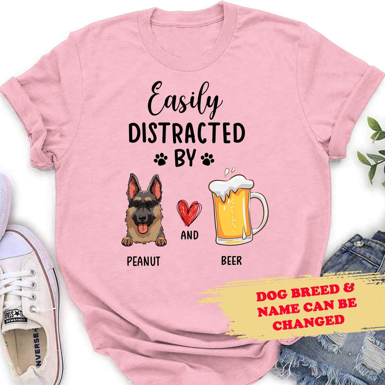 Easily Distracted By Dog & Beer - Personalized Custom Women T-shirt - 3048