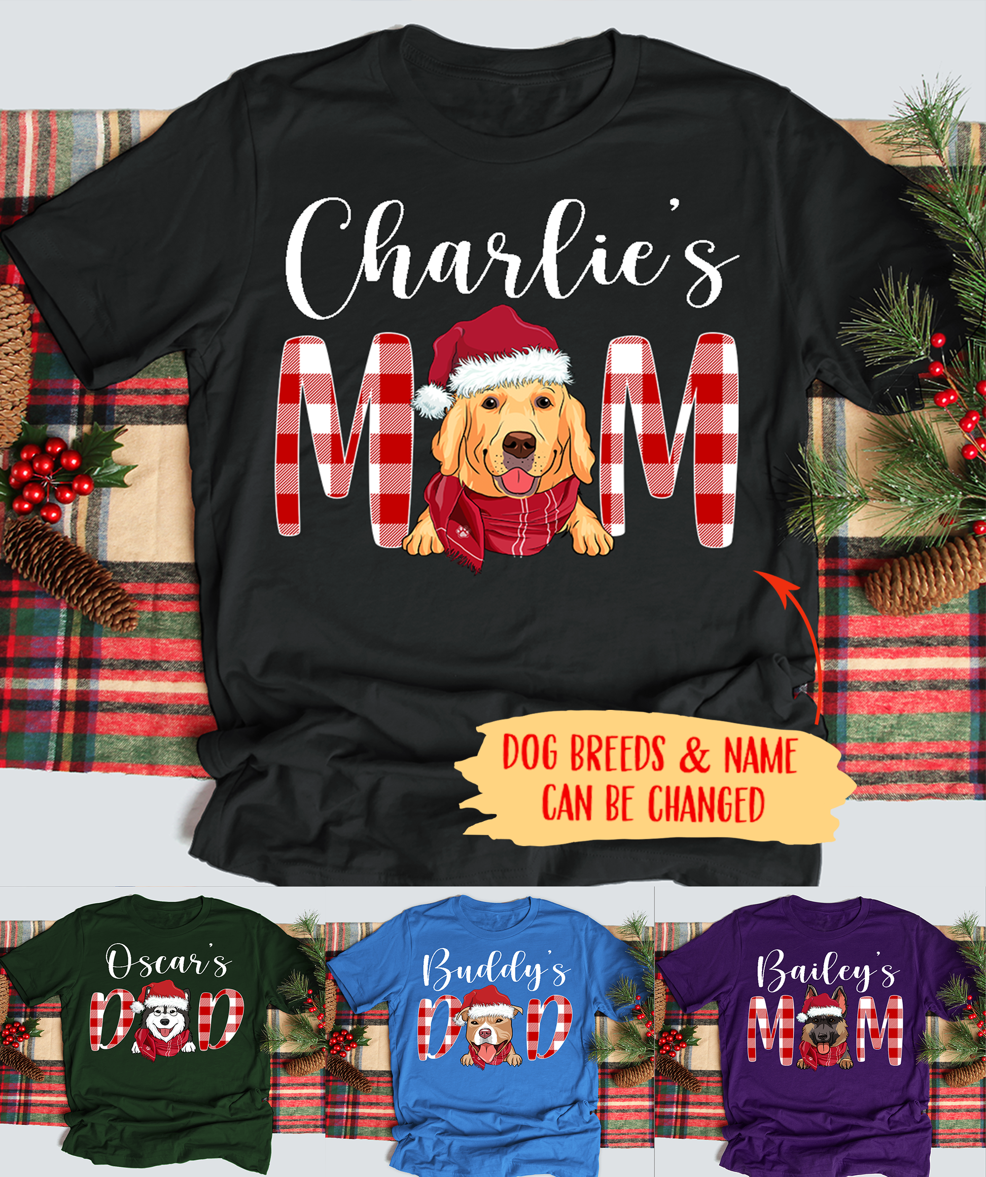 Christmas Dog Mom/Dad - Personalized Custom Unisex T-shirt