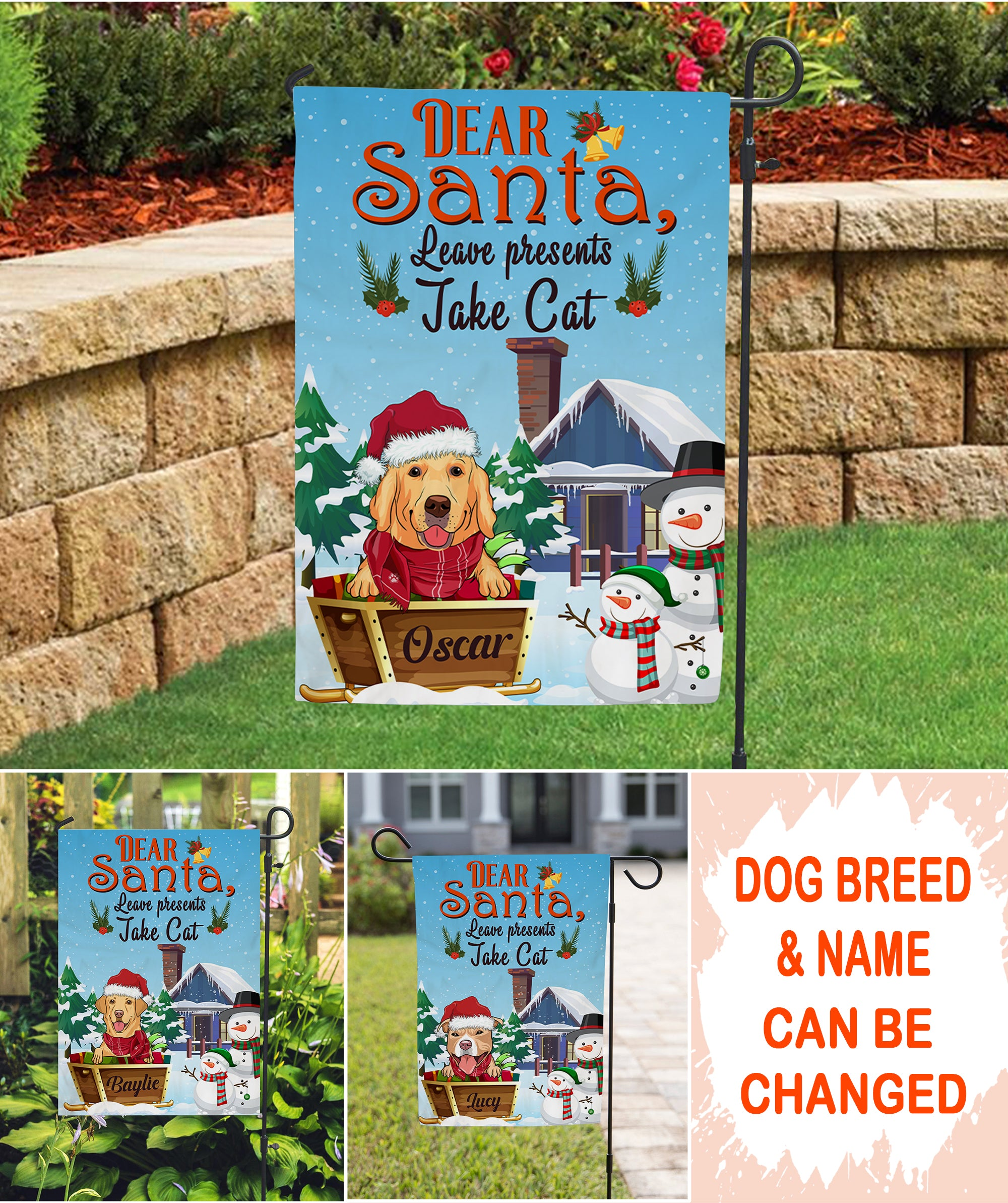 Dear Santa, Leave Presents Take Cat - Personalized Custom Garden Flag - Christmas Gifts