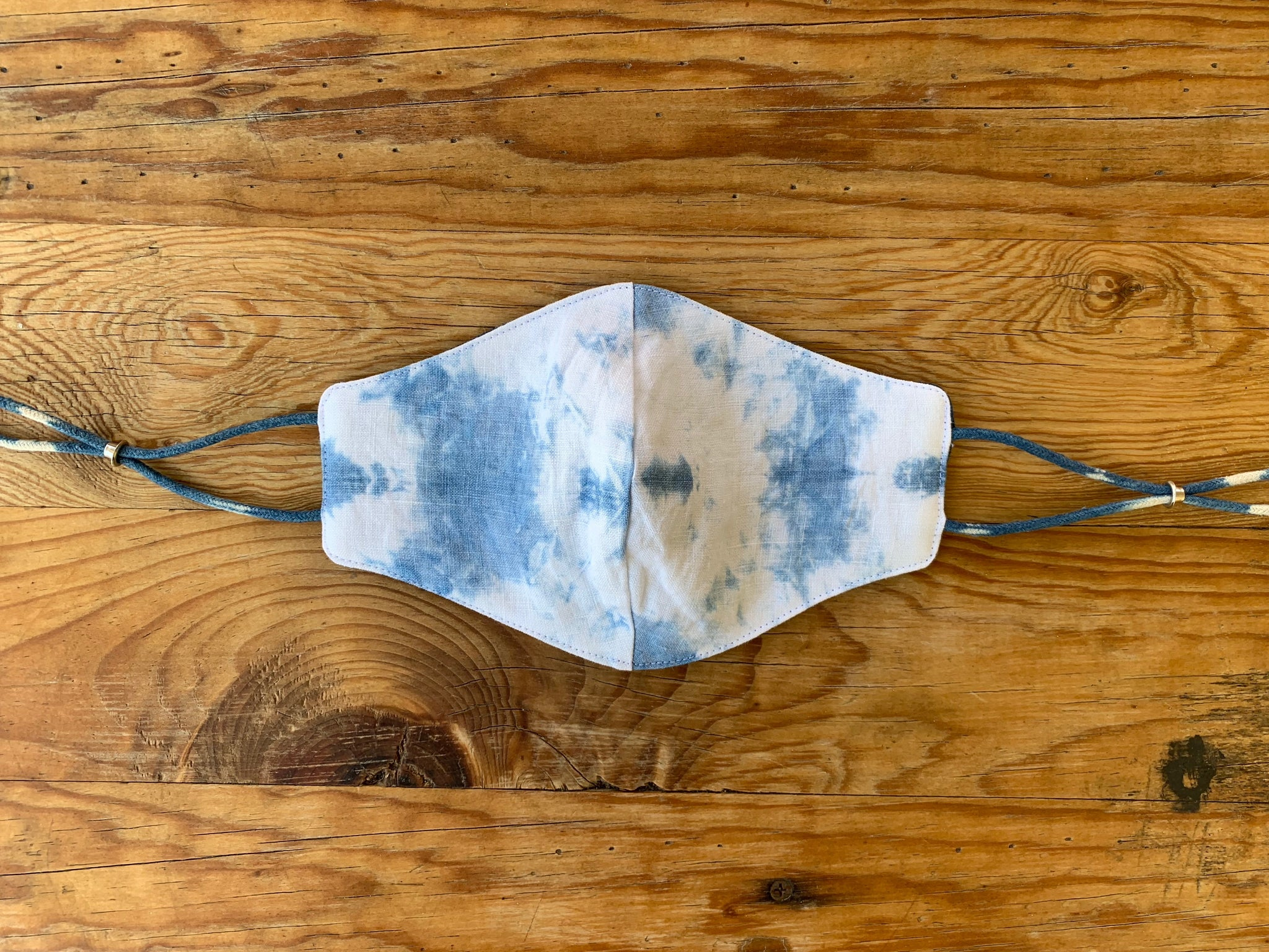 Indigo Dyed Linen Face Mask (Reversible)