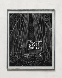 BLM Brooklyn Bridge Protest Sketch - Black