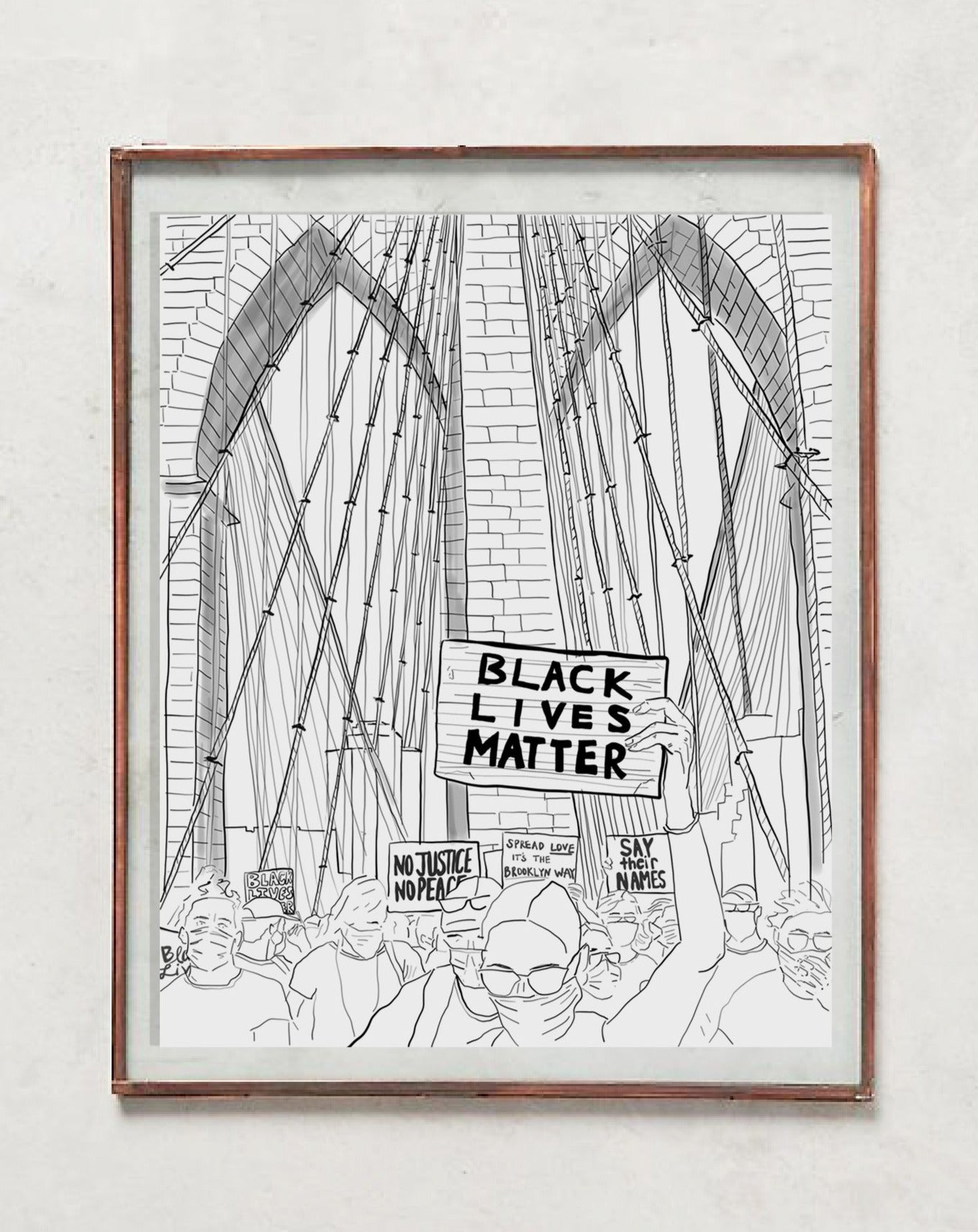 BLM Brooklyn Bridge Protest Sketch - White