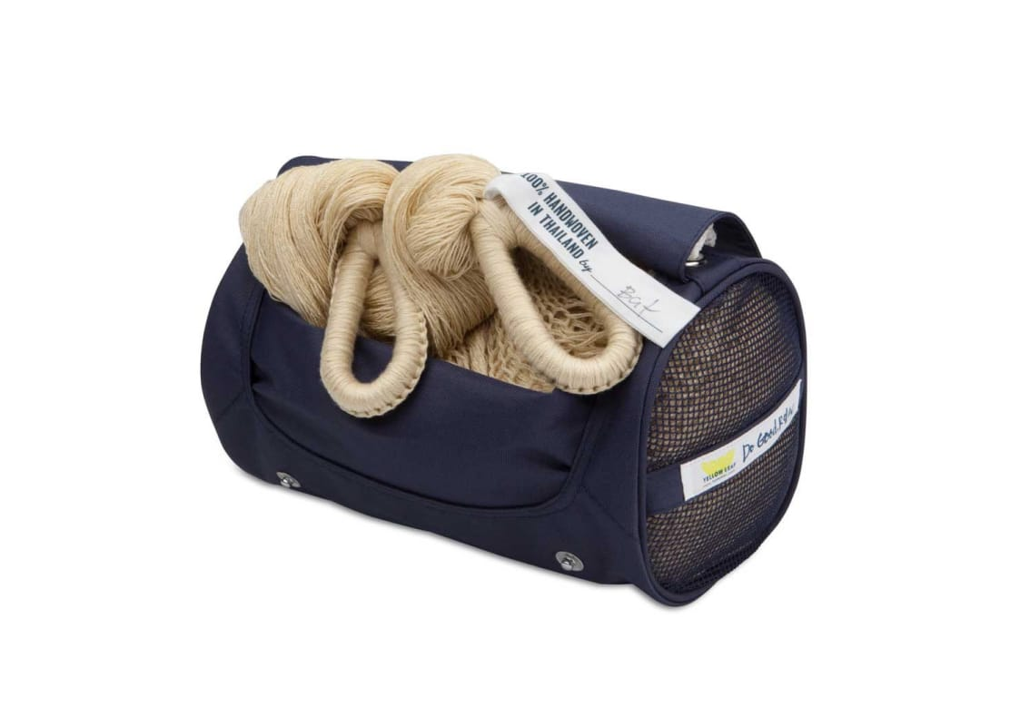 Photo of a rolled up hammock in a duffle bag