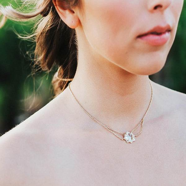 Runaway Romantic Necklace in Clear Quartz, Gold