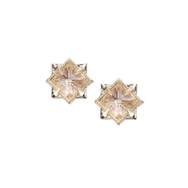 Runaway Romantic Stud Earrings in Clear Quartz, Gold