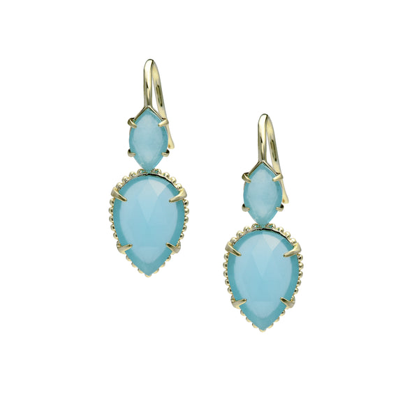 Daydreamer Gold Drop Earrings in Blue Chalcedony