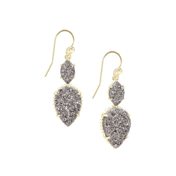 Daydreamer Double Drop Earrings, Grey Drusy