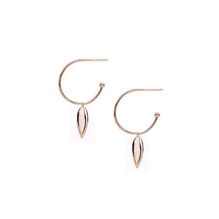 Choose Happy Mini Hoop Earrings in Rose Gold