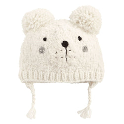 Bear Knit Hat - Ivory
