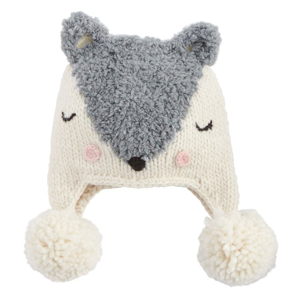 Fox Knit Hat - Grey