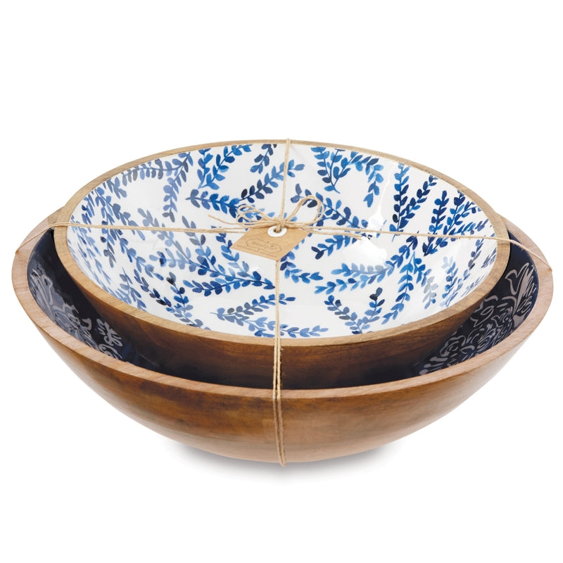 Indigo Wood & Enamel Bowl Set